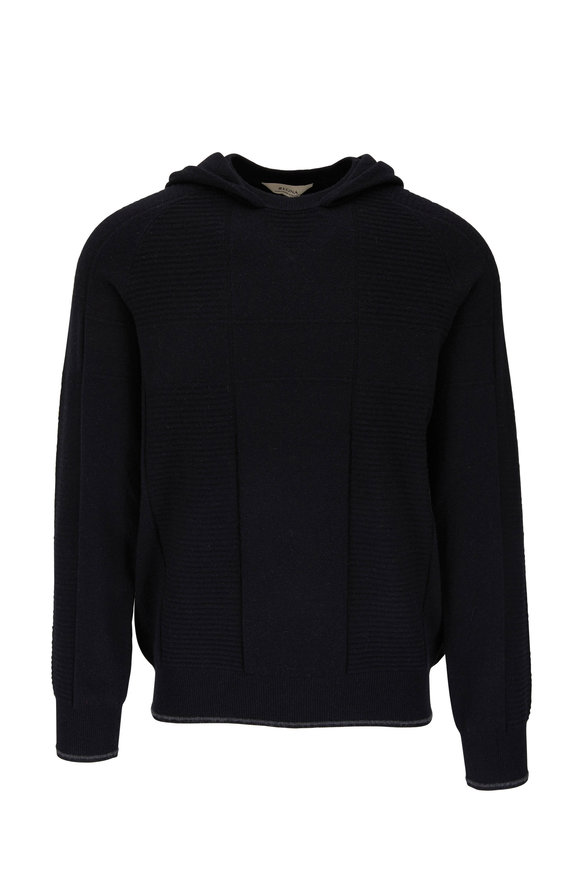 Z Zegna Black Cashmere Mutli Ribbed Hooded Sweater