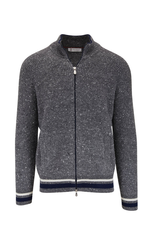 Brunello Cucinelli Gray Donegal Ribbed Zip Cardigan