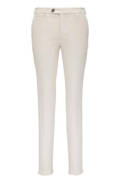 Brunello Cucinelli - Off-White Cotton Chevron Pant