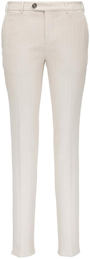 Brunello Cucinelli Off-White Cotton Chevron Pant