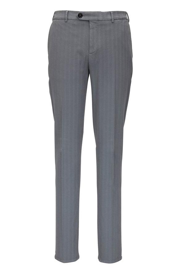 Brunello Cucinelli Gray Chevron Cotton Italian  Fit Pant