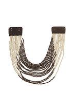 Brunello Cucinelli - Leather & Riverstone Bead Multi-Strand Choker