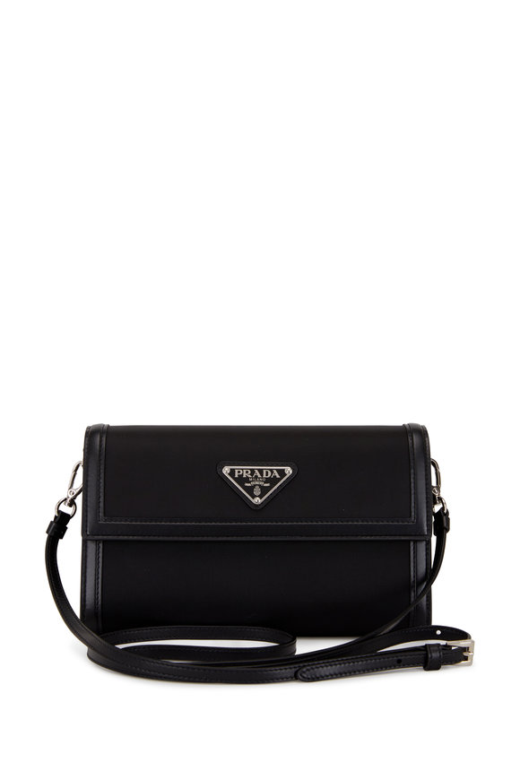 Prada Black Leather & Nylon Wallet with Shoulder Strap