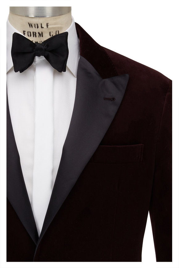 Brunello Cucinelli Burgundy Velvet Dinner Jacket