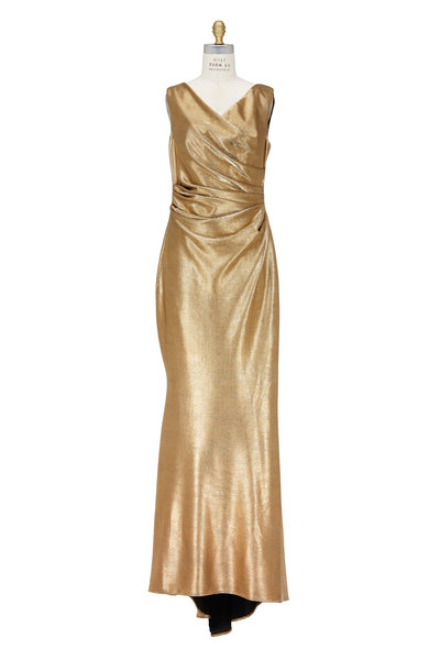 Talbot Runhof - Colly Metallic Gold Jersey Ruched Gown