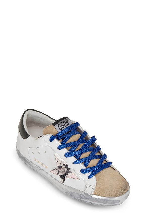 Golden Goose Superstar Pink Snakeskin Star & Black Heel Sneaker
