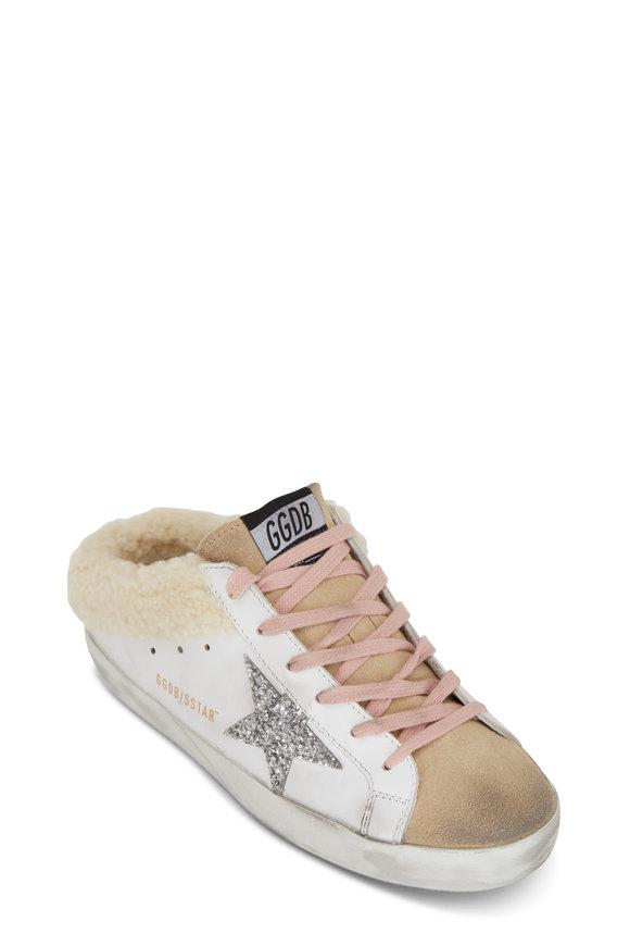 Golden Goose Super Star Sabot Glitter Star Shearling Sneakers