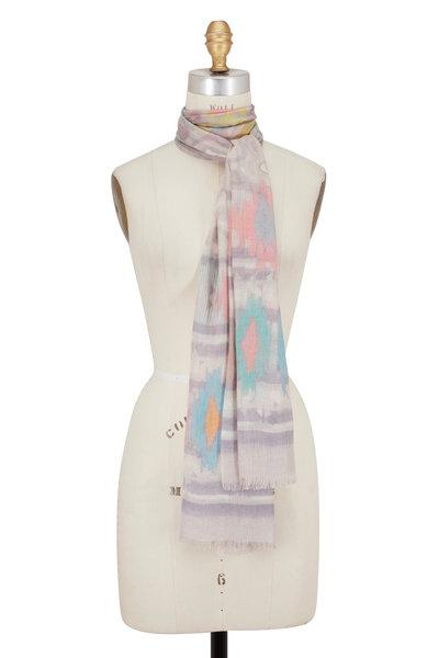 Kinross - Birch Cashmere & Silk Filigree Ikat Print Scarf