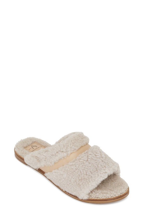 Aquatalia Alina Natural Shearling & Leather Slippers