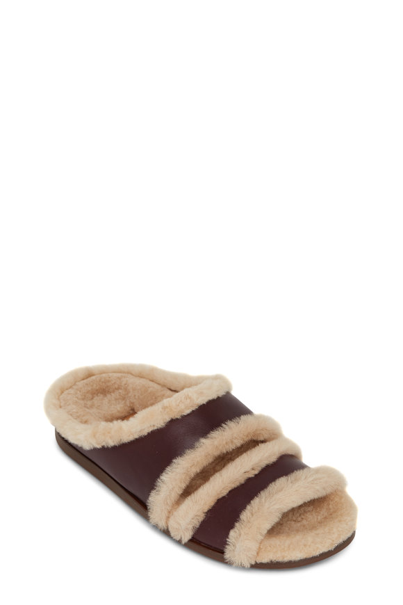 Aquatalia Imina Wine-Sand Shearling Lined Slippers