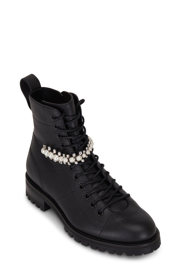 Jimmy Choo Cruz Black Leather Crystal Strap Combat Boot
