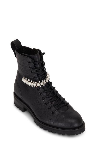 Jimmy Choo - Cruz Black Leather Crystal Strap Combat Boot
