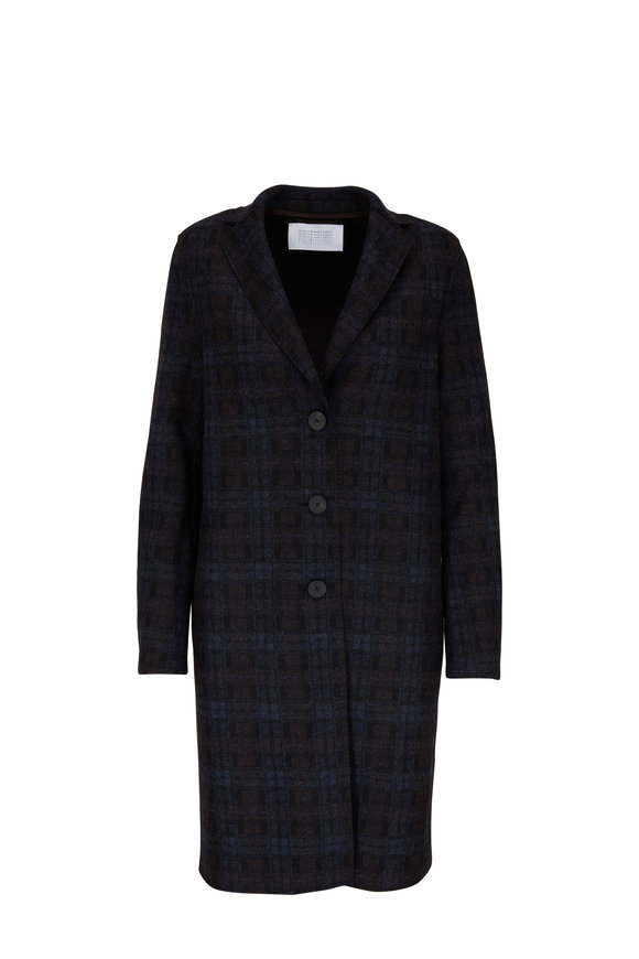 Harris Wharf Navy Blue Tartan Wool & Cashmere Coat