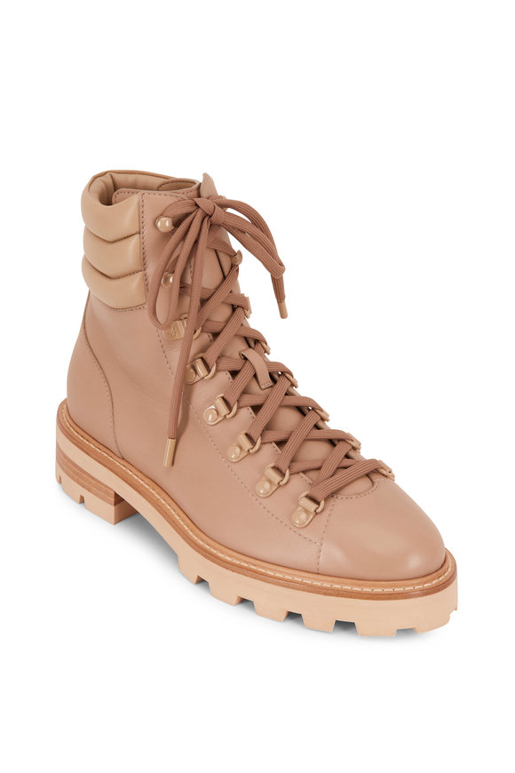 Jimmy Choo Eshe Flat Beige Leather Hiking Boots