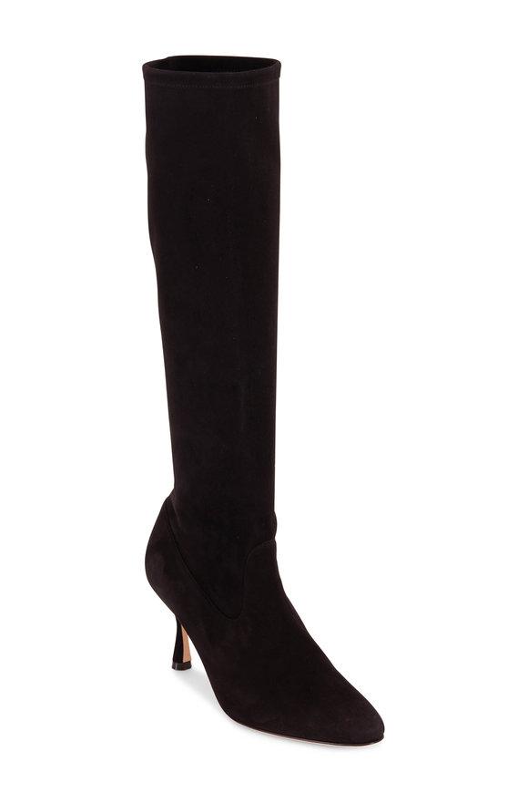Manolo Blahnik Pamfilo Black Suede Sock Boots, 70mm