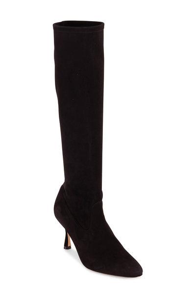 Manolo Blahnik - Pamfilo Black Suede Sock Boots, 70mm