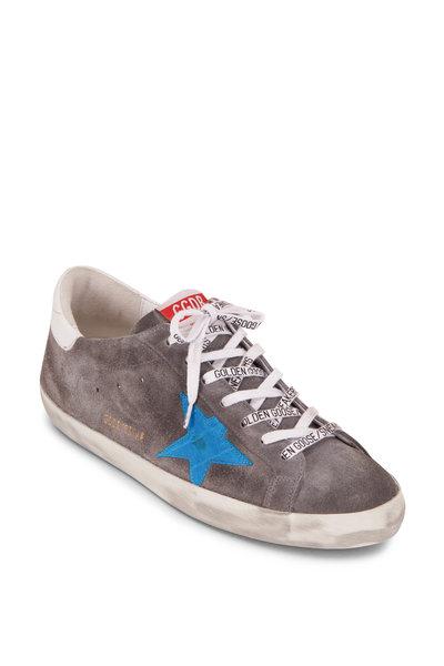 Golden Goose - Superstar Grey Suede & Blue Leather Star Sneaker