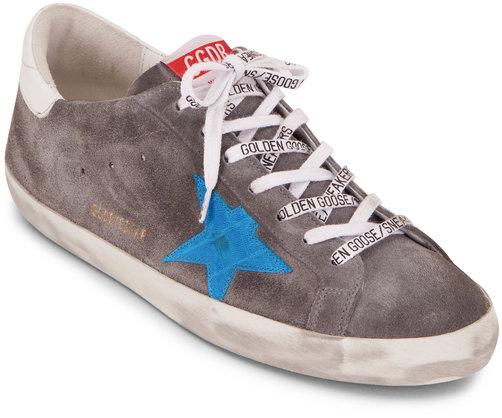 Golden Goose Superstar Grey Suede & Blue Leather Star Sneaker