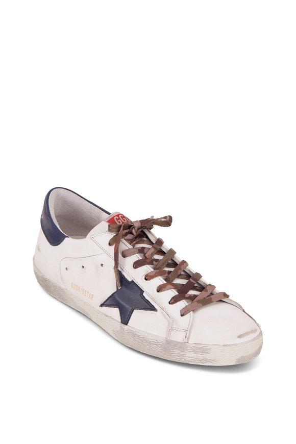 Golden Goose Superstar White Leather & Navy Blue Star Sneaker