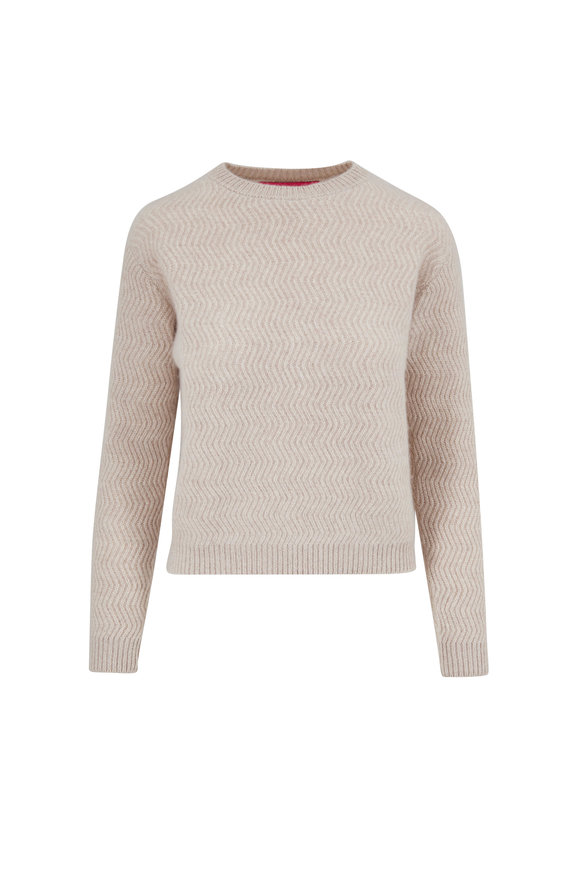 The Elder Statesman Oatmeal Heavyweight Cashmere Medium Rib Sweater