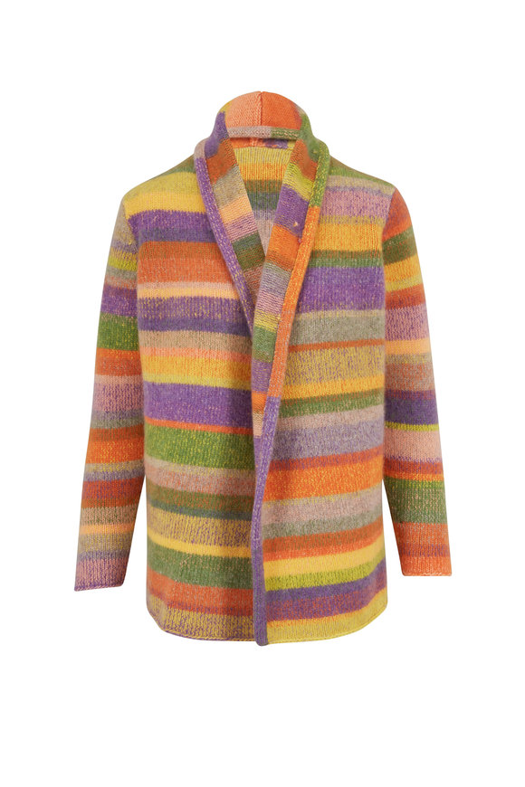 The Elder Statesman Italy Grass Multi Stripe Smoking Jacket