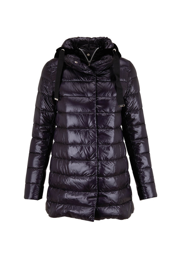 Herno Black Velvet & Nylon Hooded Puffer Coat