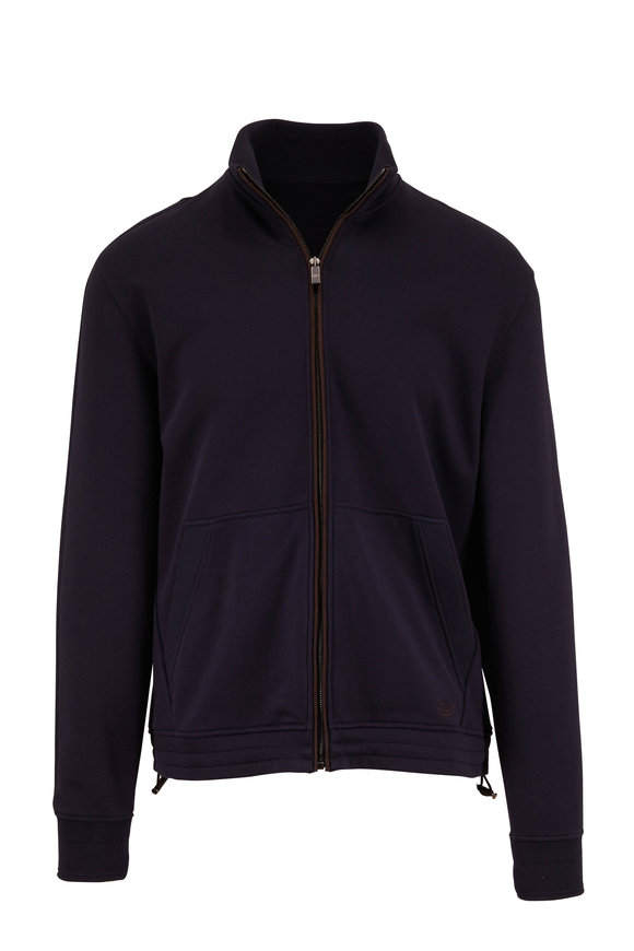 Ermenegildo Zegna Navy Blue Cotton Full-Zip Sweatershirt