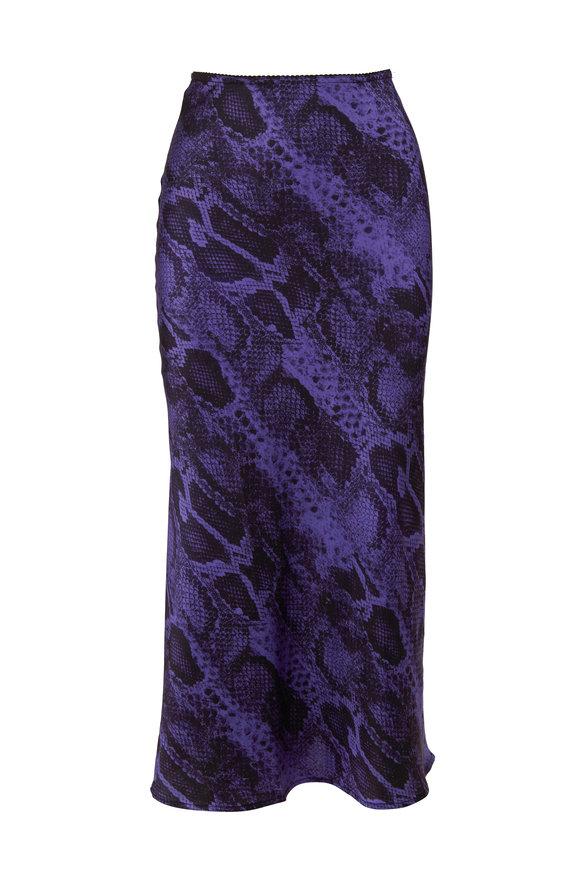 Andamane Bella Lilac Snake Print Midi Skirt