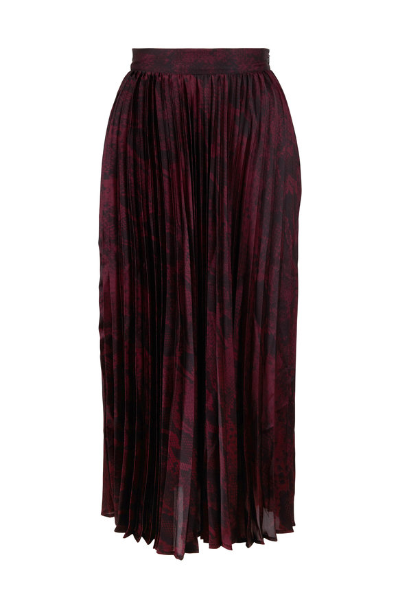 Andamane Becky Burlap Snake Print Pleated Midi Skirt
