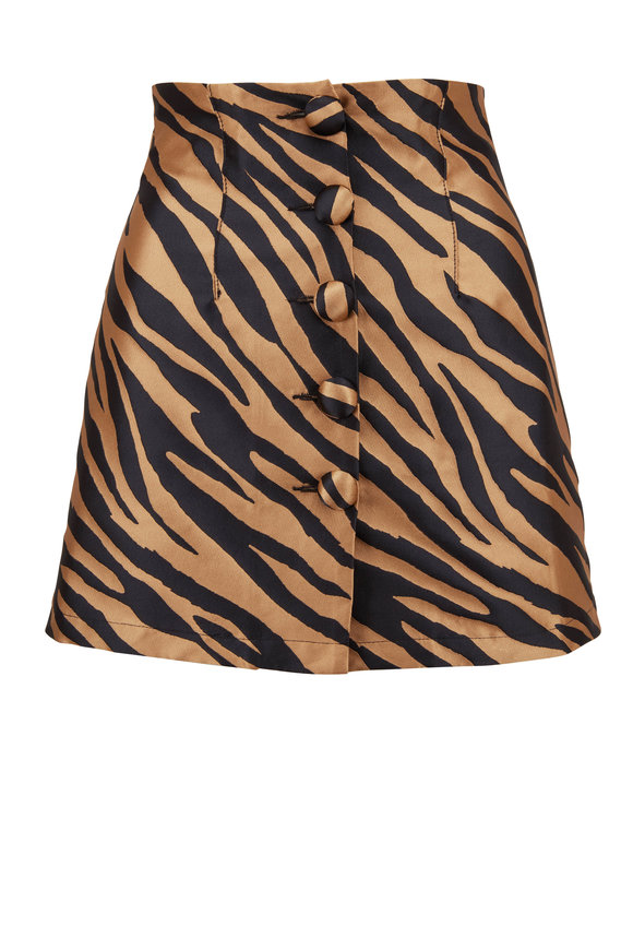 Andamane Erin Beige Zebra Front Button Mini Skirt
