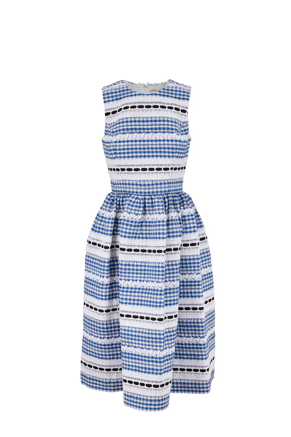Carolina Herrera Frida Blue Multi Sleeveless A-Line Dress