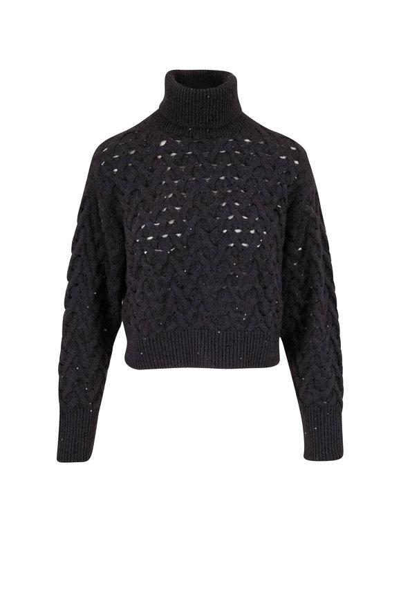 Brunello Cucinelli Onyx Cashmere & Silk Paillette Sweater