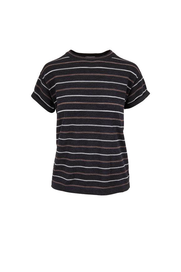 Brunello Cucinelli Anthracite Striped Cuffed T-Shirt