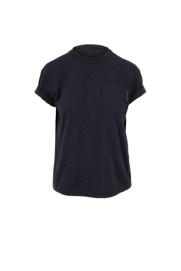 Brunello Cucinelli Anthracite Cotton Cuffed Pocket T-Shirt