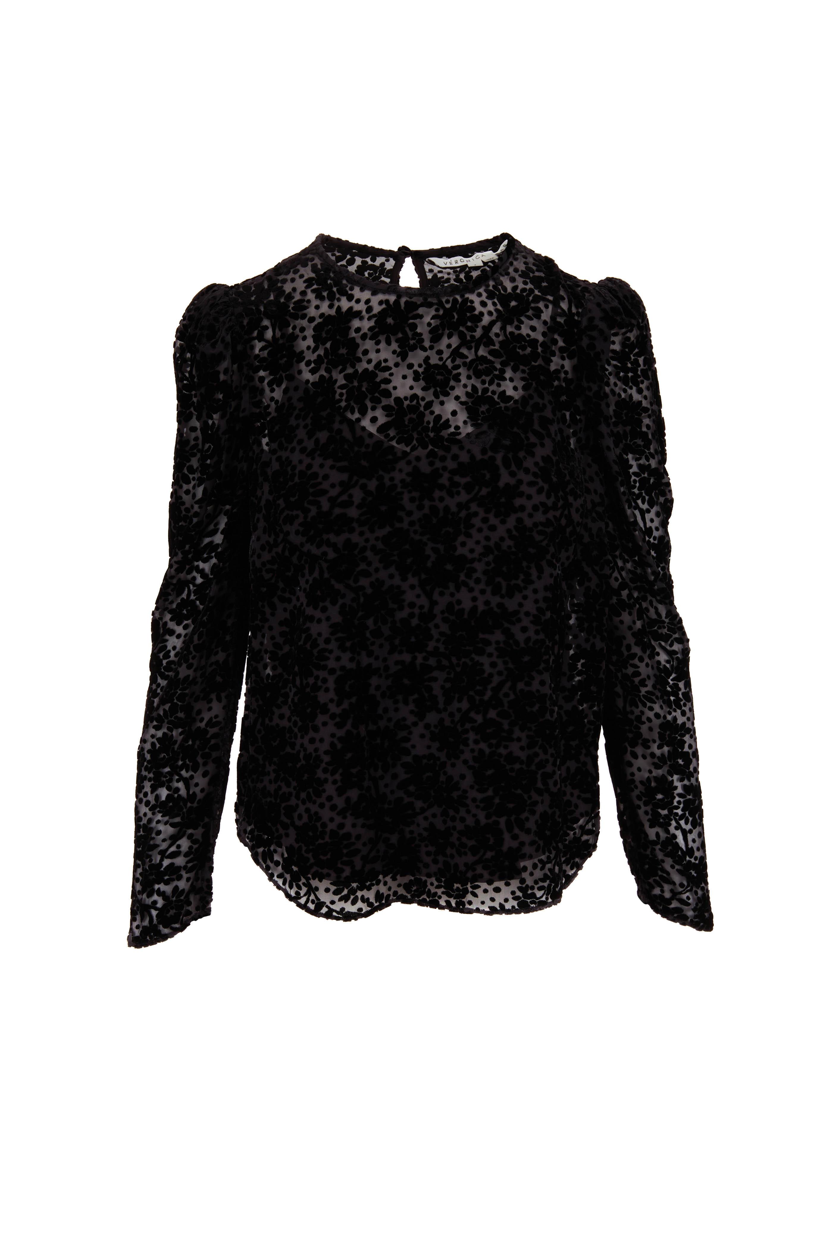 Veronica Beard Reverie Burnout Black Velvet Blouse Mitchell Stores
