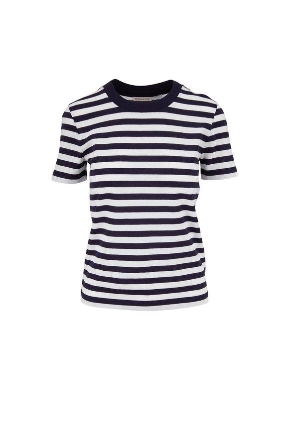 Moncler Navy & White Striped Girocollo T-Shirt