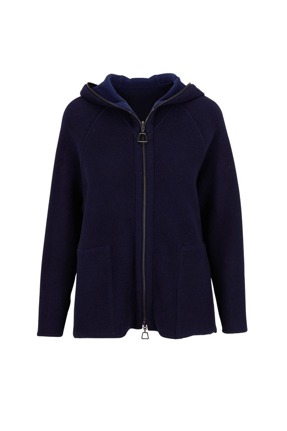 Akris Navy Blue Double-Face Cashmere Hooded Sweater