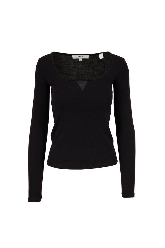 Vince Black Long Sleeve Square Neck Shirt