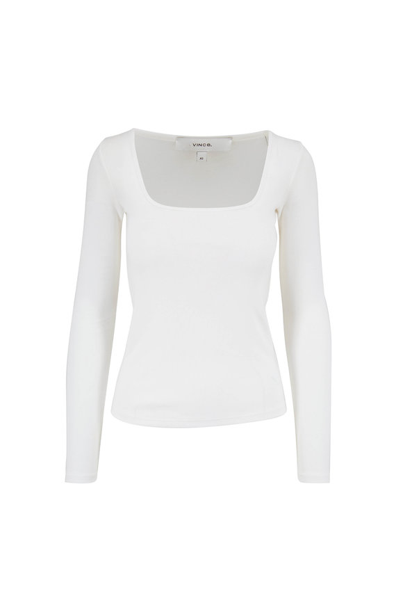Vince Off White Long Sleeve Square Neck Shirt