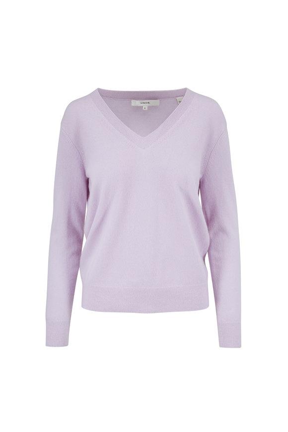 Vince Weekend Lilac Cashmere V-Neck Sweater