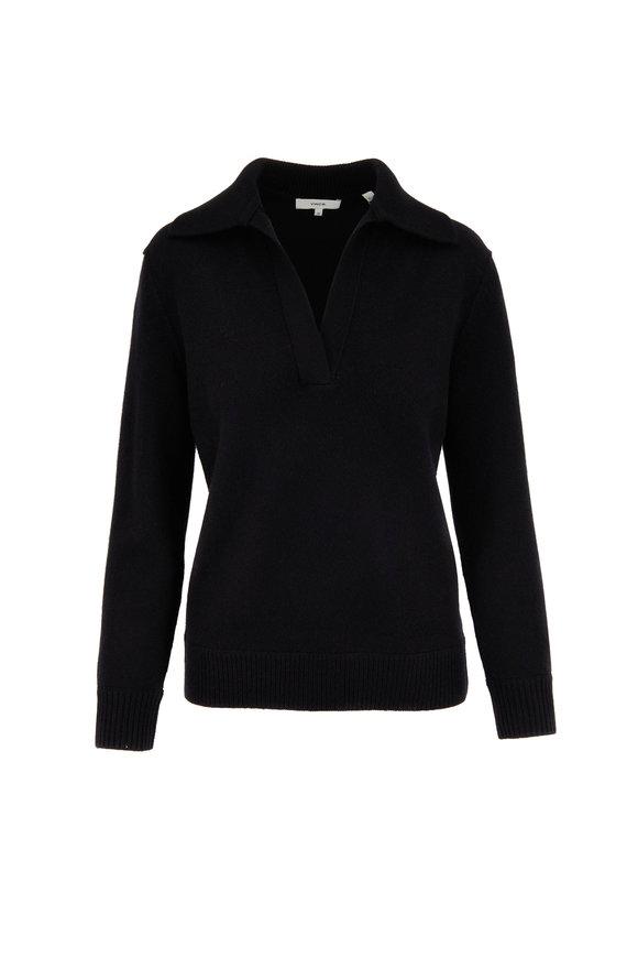 Vince Black Raglan Sleeve Polo Sweater