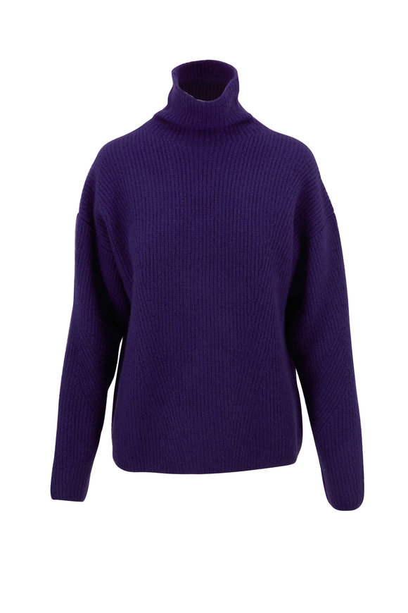 LaPointe Plum Airy Cashmere & Silk Ribbed Sweater