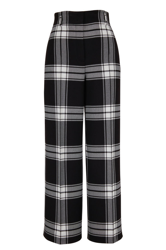 Akris Punto Black & White Plaid Wool Blend Cropped Pant