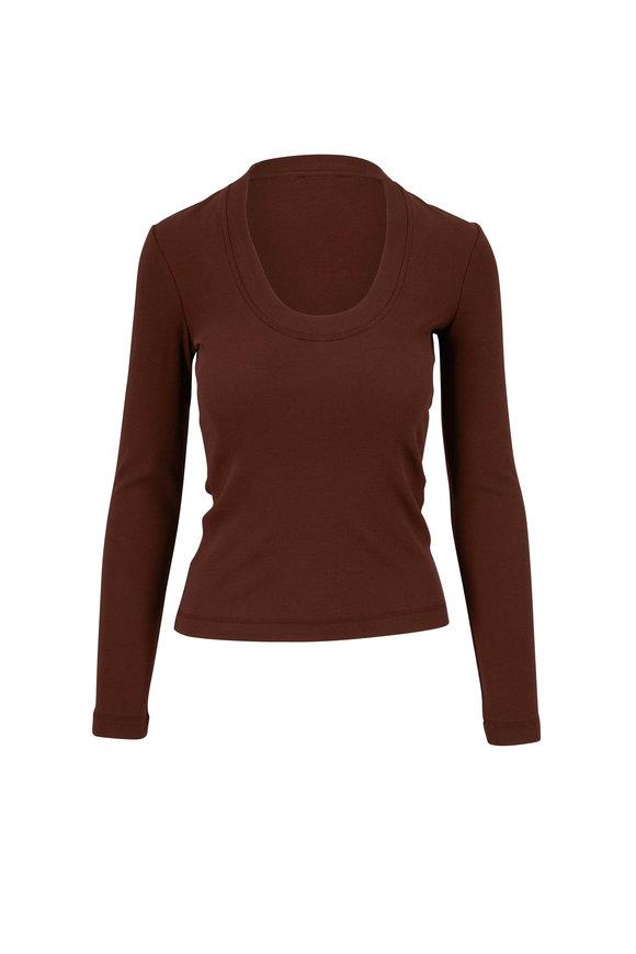 Rosetta Getty Chocolate Tonal Stitching T-Shirt