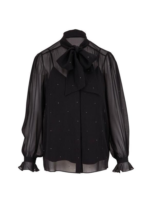 Lafayette 148 New York Byron Black Crystal Silk-Chiffon Blouse