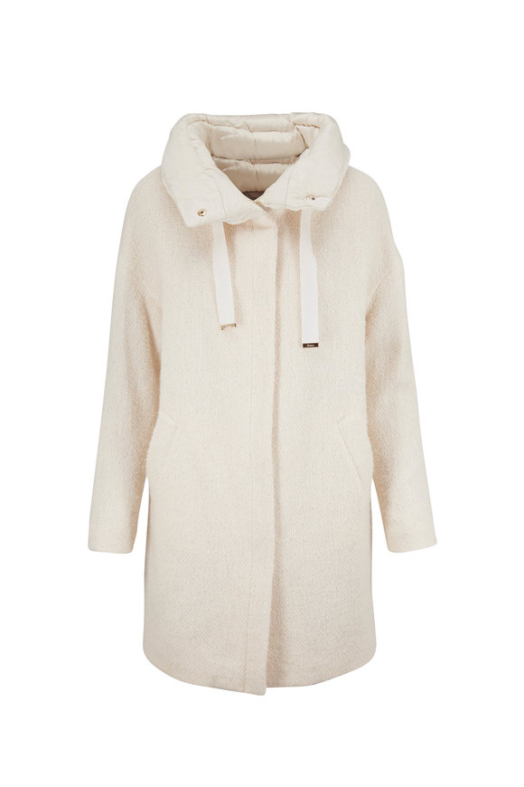 Herno Ivory Sparkle Bouclé Stand Collar Coat