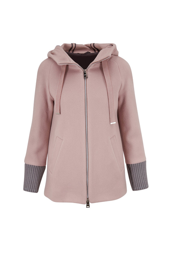 Herno New Lana Blush Double-Faced Wool Knit Coat