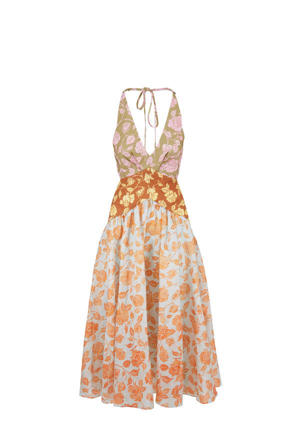 Zimmermann The Lovestruck Multicolor Floral V-Neck Midi Dress