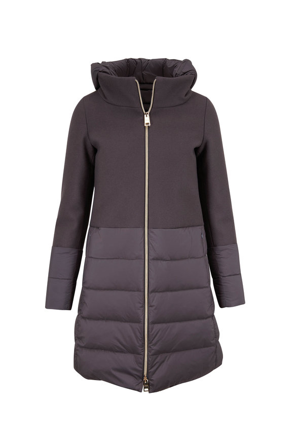 Herno Gray Nylon & Wool Padded Coat