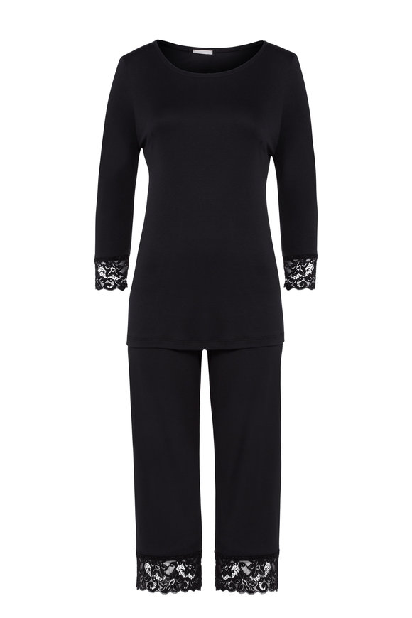 Hanro  Black Moments Long Sleeve Cropped Pajama Set